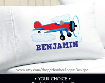 Monogram Airplane Pillowcase -  Boys Personalized Airplane Pillow case