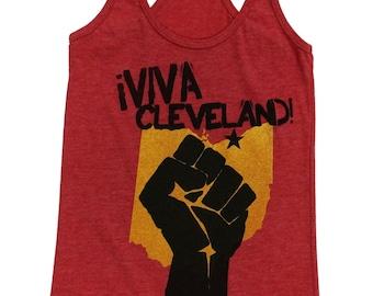 Racerback SUPER SOFT Vintage Feel Tank - Viva Cleveland on Heather Red