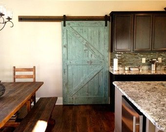 Sale sliding barn door reclaimed pine turquoise white distressed