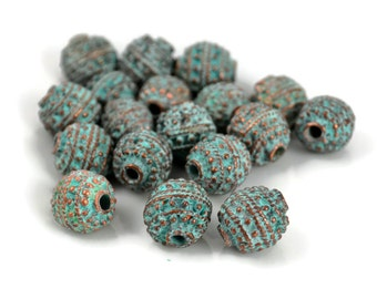 Mykonos Antique Bali Style Ball - 12mm Green Patina - Round Rustic Bead