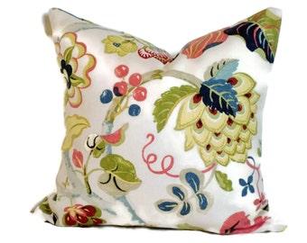 P Kaufmann Floral & Artichoke Decorative Pillow Cover 18x18 20x20 22x22 Accent Pillow Throw Pillow Toss Pillow Blues Rose Kiwi Cream