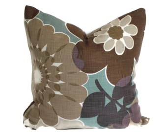 P Kaufmann Brown and Aqua Floral Decorative Pillow 18x18 20x20 22x22 or 14x20 Lumbar Pillow Accent Pillow, Throw Pillow, Pillow Cover