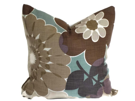 P Kaufmann Brown and Aqua Floral Decorative Pillow 18x18 20x20