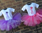 Pink and Purple Passion Twin Girls Birthday Crown Tutu Outfits in Pink and Purple, Twin Girls First Birthday Tutu Set