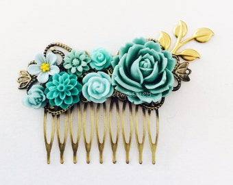 Teal Hair Comb Aqua Wedding Turquoise Seafoam Mint Gold Leaf Bridesmaids Gift Bridal Head Piece Floral Flower Comb Vintage Style Shabby Chic