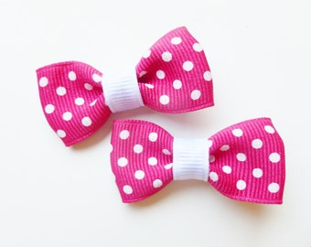 hot pink and white polka dot baby hair bows-- mouse 1st birthday party favors tuxedo bows accessories for girls