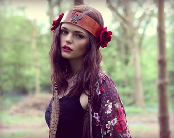 Feather headband, leather festival crown, feather headpiece, velvet roses