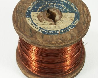 Recycled Copper Wire on Vintage Wooden Spool