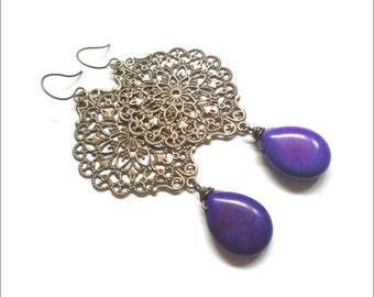 Radiant Orchid Earrings - Long Purple Statement Jewelry