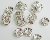 20 Clear rhinestone rondelle spacer beads 8mm PA010-8