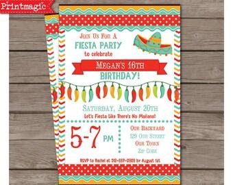 Fiesta Party Invitation - Fiesta Birthday Party - Cinco de Mayo Invitation - Cinco de Mayo Party - Personalize at home in Adobe Reader