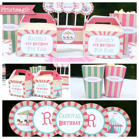 Pink Vintage Circus - Carnival Party - Invitations & Decorations ...