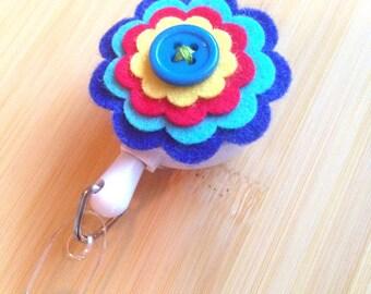 Blue Flower Felt ID/Badge Clip