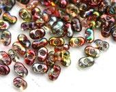 Farfalle seed beads, czech glass, 2x4mm - Red Yellow rainbow finish - peanut, glass beads - 10gr - 1404
