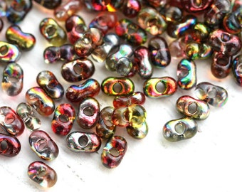 Farfalle seed beads, czech glass, 2x4mm - Red Yellow rainbow finish - peanut, glass beads - 10gr - 1404