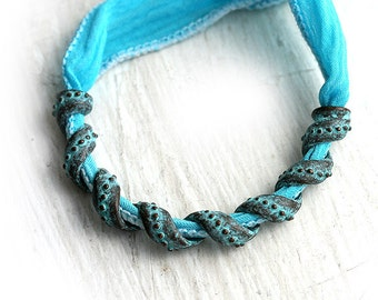 Necklace extra long connector bead, Wavy Tube, green patina on copper, Greek focal bead - 50mm - 1Pc - F178