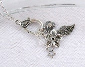 Long Silver Charm Necklace with Decorative Lobster Clasp - Flower, Leaf, Star and Heart Charms - Spring - Summer - Gifts Under 25