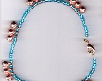 Copper and Aqua Blue Dancing Bells Anklet