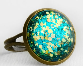 Electric Glitter Ring in Antique Bronze - Turquoise Blue Glitter and Holographic Yellow Hexagonal Glittery Cocktail Ring