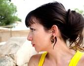 Fake Gauges Earrings Drops Wooden Earrings Flower Organic Natural Tribal Earrings Organic - FG012 W G1
