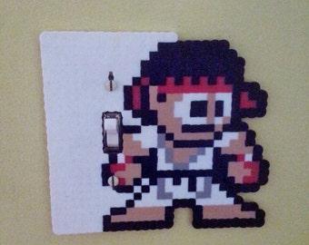 Ryu Perler Bead Light Switch Cover - plate - nintendo - street fighter - game room - akuma