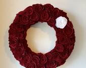 """Handmade Red Felt Rosette Wreath. 20"""". Felt Wreath. Flower Wreath. Front Door Decor. Door Hanging. Wall Hanging. Custom. Christmas Wreath"""