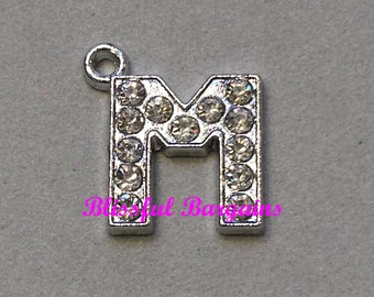 Dangle Charm Crystal Pave Silver Initial Letter M