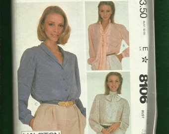 Vintage 1982 McCalls 8106 Classic Halston Blouses with Shawl or Scarf Collars  Size 8