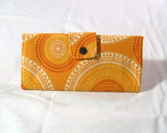 Orange Mandala Circles Long Clutch Trifold Purse Wallet #071