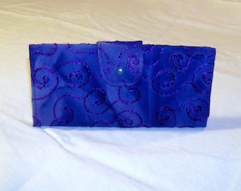 Embroidery Swirls Batik Long Clutch Trifold Purse Wallet #072