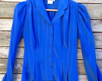 1980's 'Something Special' Electric Blue Blouse with Gathered a Shoulder Seam, a Princess Sleeve and Waistline Pleating