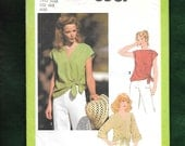 Vintage 1978 McCall's 8587 Summer Pullover Tops With Self Tie At The Hem, Sizes 6, 8, UNCUT
