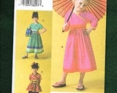 Vogue 7894 Little Girl's Top, Dress, and Pants With An Asian Flare, Sizes 2,3,4