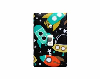 Rocket Nursery Light Switch Plate Cover / Retro Astronaut Space Ship / Kids Boys Room Bedroom Nursery Decor / Slightly Smitten Kitten