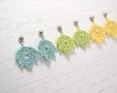 pastel crochet leaf earrings - autumn jewelry