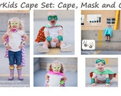THWACK Superhero Cape Set Toddler Size includes Mask and Cuffs YOU pick the Fabric and Shield Style by Messy Kids Designs