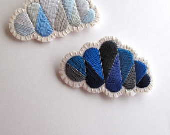 Geometric clouds brooch set cloudy and rainy day colors hand embroidered in blues and grays Spring showers