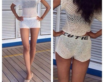 Off The Shoulder Net Top with Matching shorts-Small