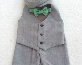 Baby Boy Suit, Ring Bearer Suit, Baby Ring Bearer, Gray Boys Suit, Toddler Ring Bearer, Infant Ring Bearer, Baby Wedding, baby boy outfit