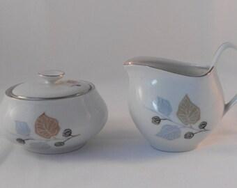 Vintage Bavaria Germany Cream and Sugar Leaves and Flowers