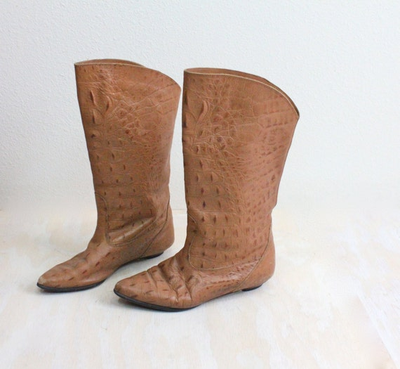 Vintage Italian Exotic Leather Boots Sz 7