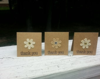 Mini Thank You Cards,  Rustic Thank You Notes,  Kraft Cardstock with Burlap Flowers,  Rustic Wedding Thank You  Notes, Mini Note Cards