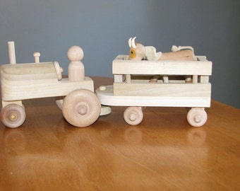 Wooden tractor and peg doll