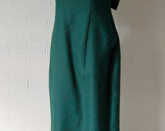 Vintage 1980s Emerald Green Tafeta Cocktail Dress Grown with Decorative Sleeves and Bow 9/10/M