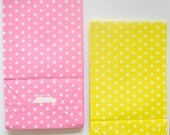 12 Pink Yellow Mini Polkadot Treat Bags, Stand up Bags, Pink Lemonade Party Supplies, Bitty bags, Candy Bags, Supplies, paper goods