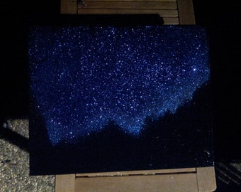 "Night Sky, Twinkling Stars & Mountains Landscape Painting,  Acrylic on Canvas, 16""x20"""