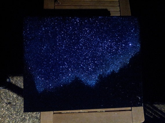 Night Sky Twinkling Stars & Mountains Landscape Painting