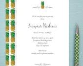 Invitations, Digital File, 24 hour turn around time, Pineapple Pattern, Elegant, Contemporary, Exotic, Hawaiian, Tropical