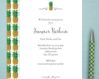 Invitations, Digital File, 24 hour turn around time, Pineapple Pattern, Elegant, Contemporary, Exotic, Hawaiian, Tropical