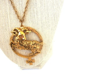 Vintage Avon Gold Aries Zodiac Sign Horoscope Female Sign Necklace - Ms. - extra long - hippie hipster feminist